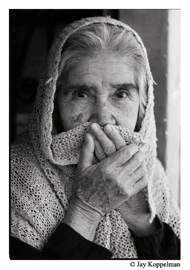 Elderly woman in the cold in Ajijic, Jalisco, Mexico.
