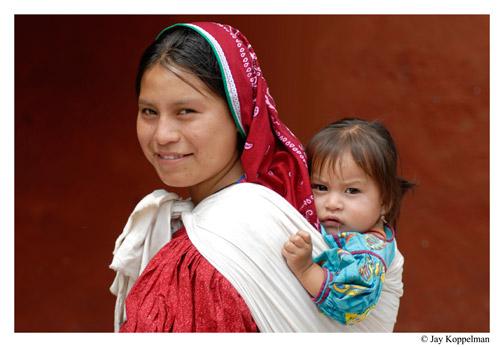 Huichol indigenous family in Ajijic, Mexico, by Jay Koppelman.