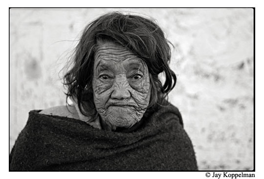 Elderly Mexican woman with wrinkles in Ajijic, Mexico.