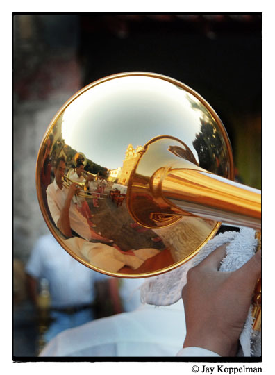 Mexican mariachis are reflected in this trumpet in Ajijic, Mexico.