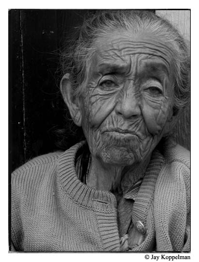 Elderly mexican woman with wrinkles. Chapala, Mexico