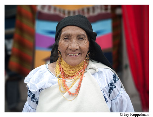 Indigenous ecuadorian woman in Otavalo, Ecuador.