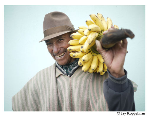 Man and bananas in Zumbahua, Ecuador.